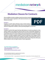Mediation Clauses for Contracts