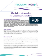 Mediation Information for Union Representatives