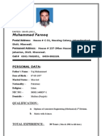 Muhammad Farooq, C.V.