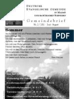 Gemeindebrief Sommer 2011