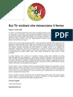 Sui Tir siciliani che minacciano il fermo