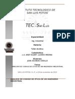 Analisis de Codigo de Etica de Un Ing Industrial