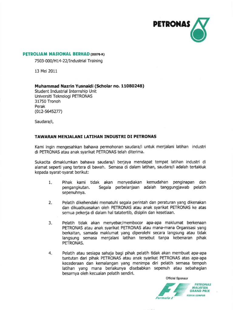 petronas carigali offer letter internship