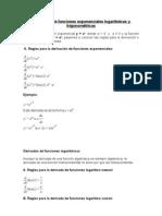 Derivación de funciones exponenciales logarítmicas y trigonométricas