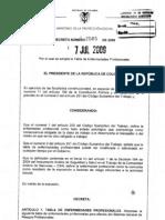 Decreto 2566 Tabla de Ep