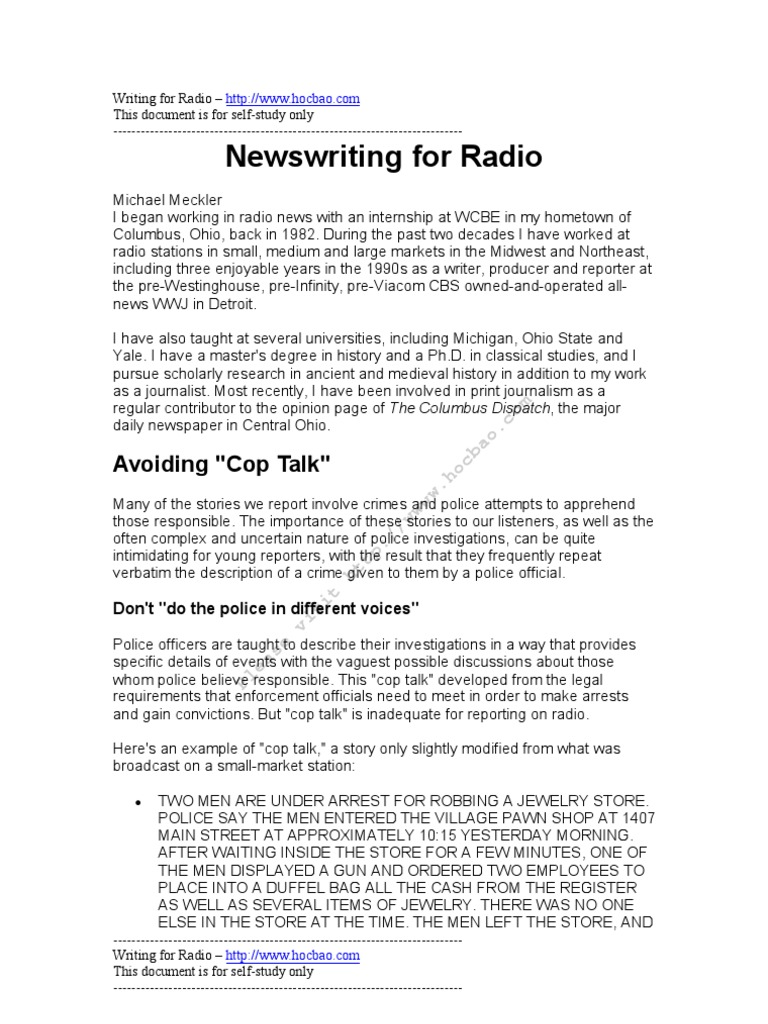 News Writing for Radio | Sentence (Linguistics) | Press Release