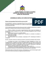 Pedagogia UFSC Assembleia 09mai2011 Sintese PDF
