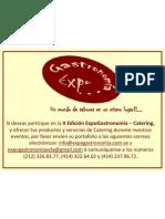 Invitación II Edición ExpoGastronomía - Catering