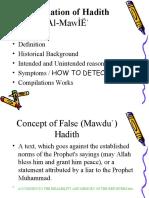 CUHS1 Classification of Hadith MAQBUL MARDUD Fabrication