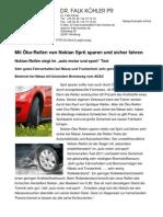 Mit Nokian-Öko-Reifen Sprit sparen und sicher fahren / Nokian-Reifen siegt im auto motor und sport Test / Sehr gutes Fahrverhalten bei Nässe und Trockenheit, sehr geringer Kraftstoffverbrauch / Bestnote bei Nässe mit kürzestem Bremsweg vom ADAC