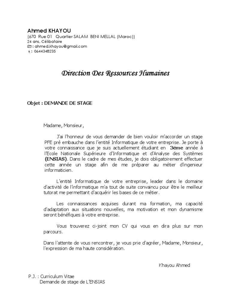Exemple De Lettre De Motivation Demande Demploi Maroc
