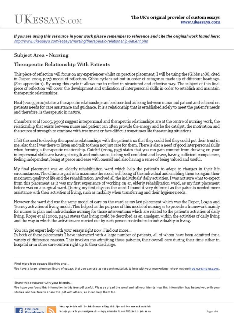 Nursing reflection essay nursing essays therapeutic relationship