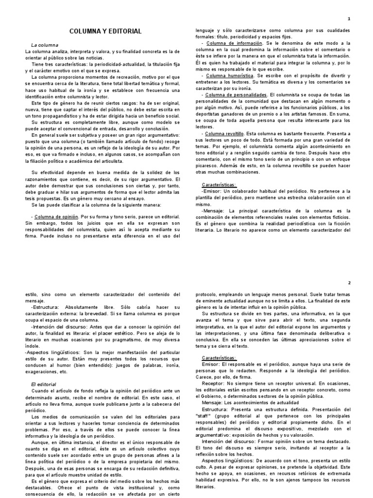Columna y Editorial