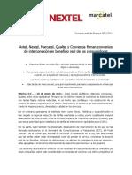 Axtel, Nextel, Marcatel, Qualtel y Convergia firman convenios de interconexión en beneficio real de los consumidores