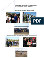 Informe de Actividades Realizadas Por La Subdireccion de Deportes en Los Primeros 100 Dias de Trabajo 2