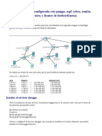 Topología de red, configurada con quagga, ospf, zebra, zamba, telnet, ruteo, y Router de Redistribucion