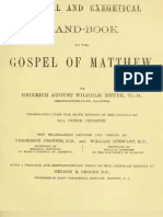 Critical and Exegetical Hand-book to the Gospel of Matthew