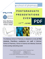 POSTGRADUATE PRESENTATIONS EVENT-MEDWAY SCHOOL OF PHARMACY, UNIVERSITY OF KENT AND GREENWICH