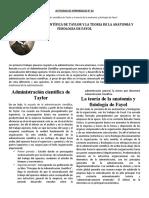 La Administracion científica de Taylor y la teoria de la anatomía y fisiología de Fayol