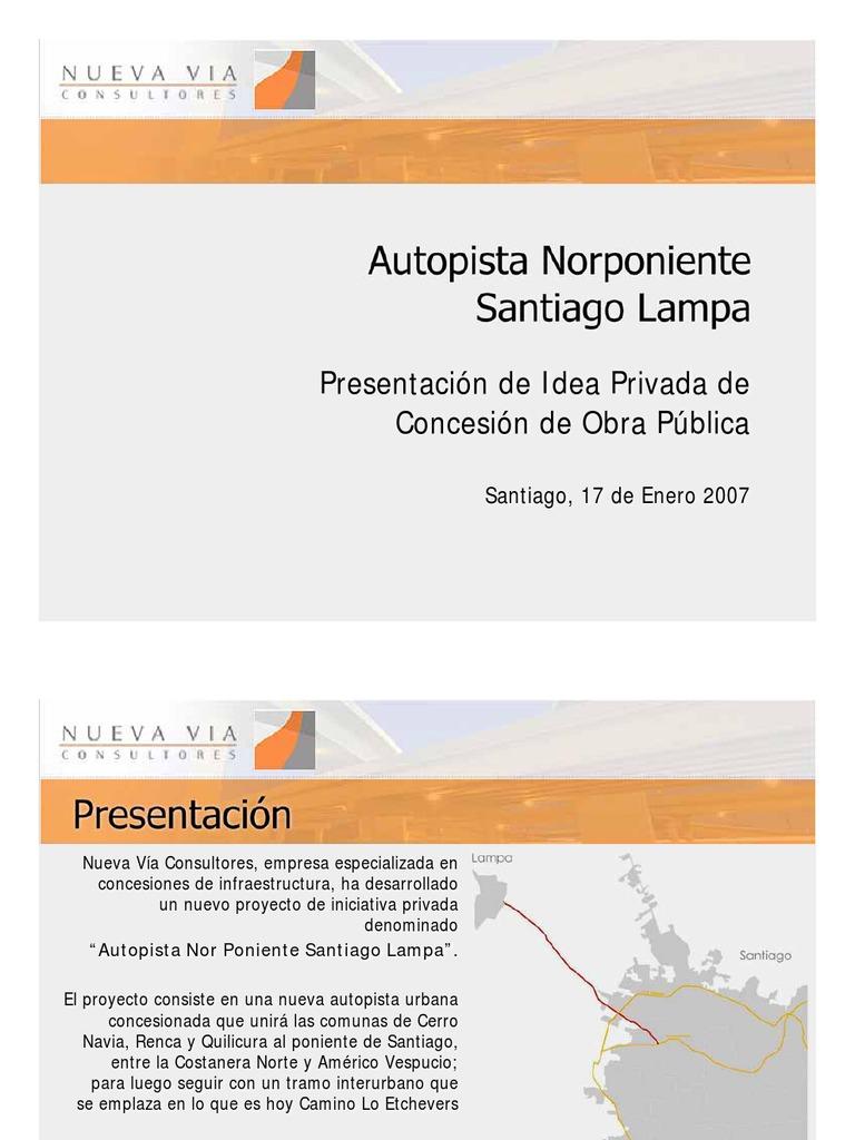 Autopista Norponiente Santiago Lampa