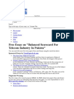 Balanced Scorecard for Telecoms in Pakistan