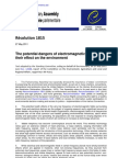 Council Europe Resolution 1815 the Potential Dangers of Electromagnetic Fields and Their Effect on the Environment 27-05-2011