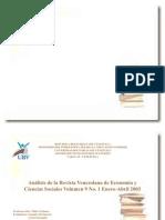 Análisis de la Revista Venezolana de Economía y Ciencias Sociales Volumen 9 No. 1 Enero-Abril