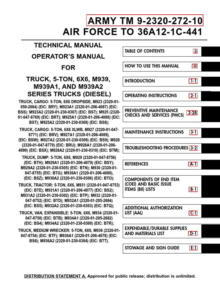 TM 9 2320 272 10 Truck 5 Ton 6X6 M939 Series