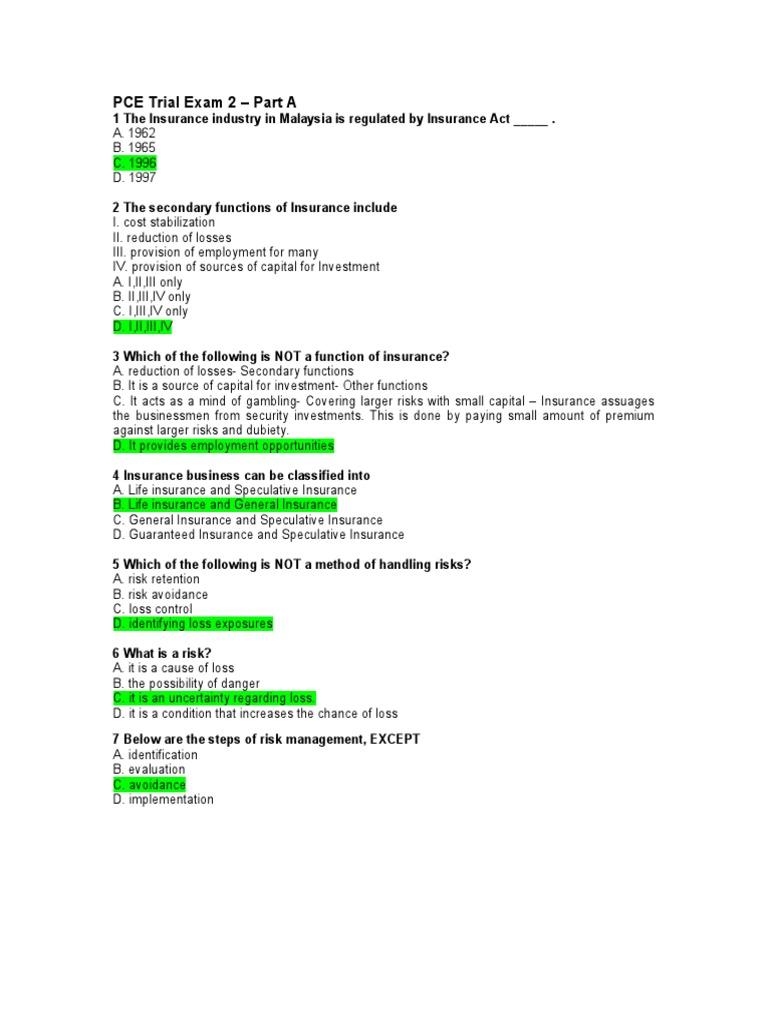 Ceilli sample questions set 3 (eng)   insurance   life insurance.
