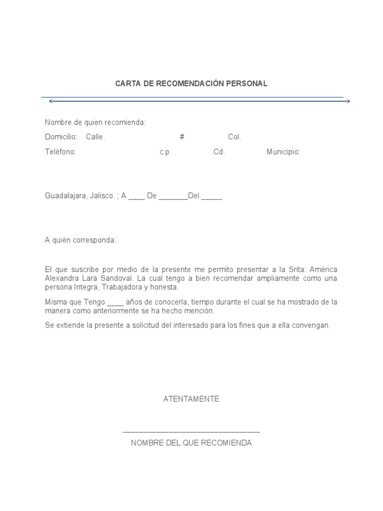 carta de recomendaci u00d3n personal
