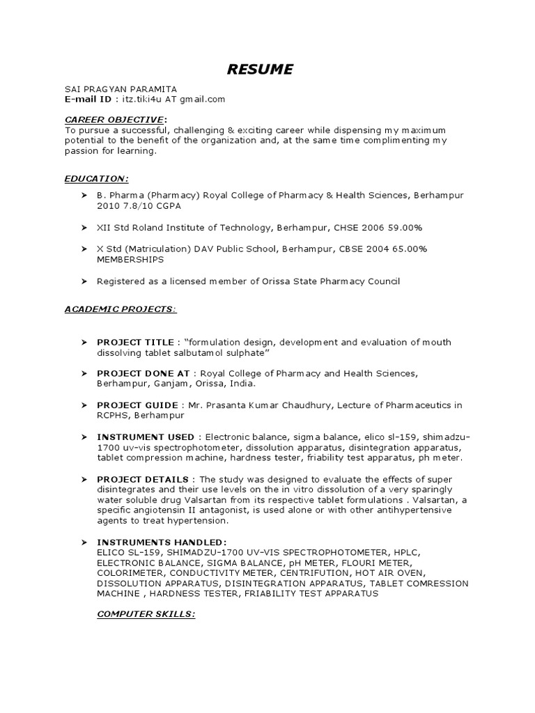 B Pharm Fresher Resume