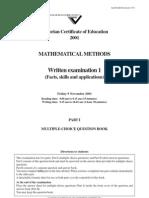 2001 Methods Exam 1
