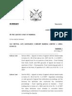 Judgment - Old Mutual Life Assurance Company Namibia Ltd vs L Schultz - Summary