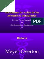 Mecanismo de acción de los anestesicos inhalatorios