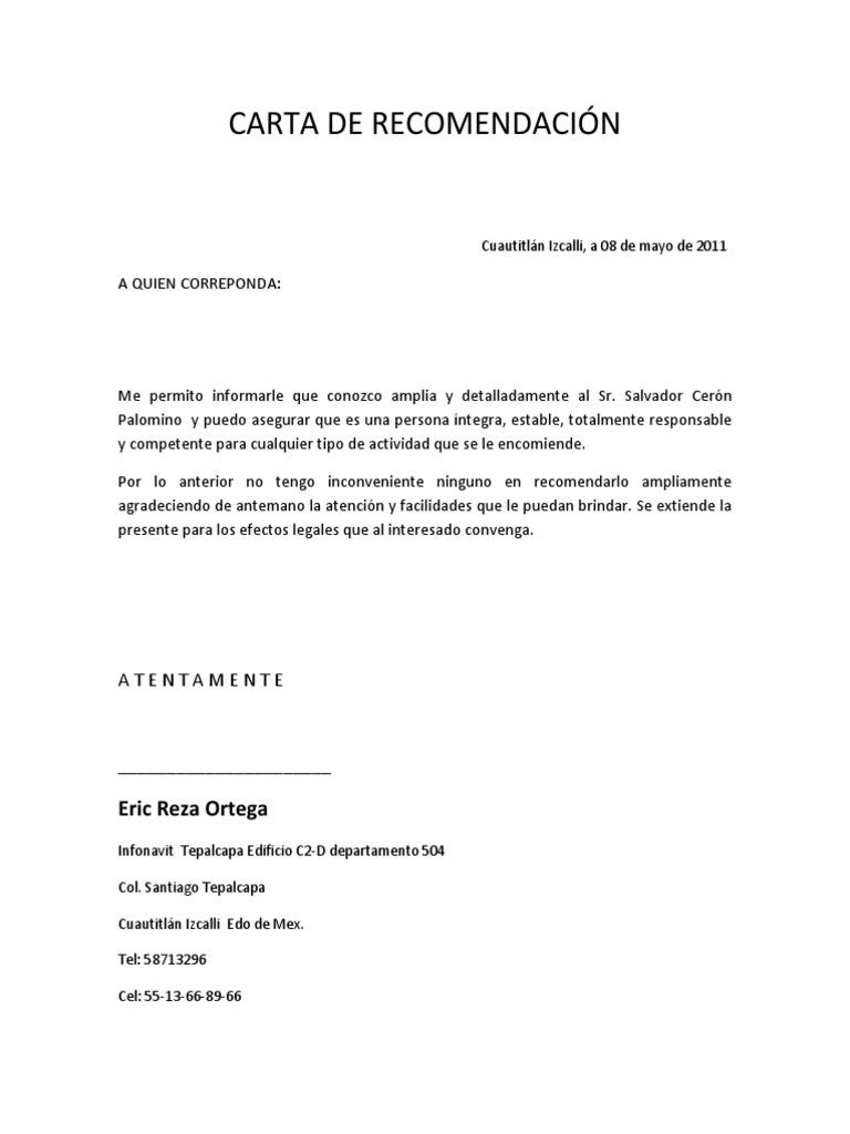 CARTA DE RECOMENDACIN formato