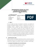 Silabo diseño trabajo de investigacion UCV
