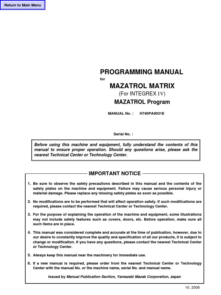 Mazak Mazatrol Programing Manual for Mazatrol Matrix