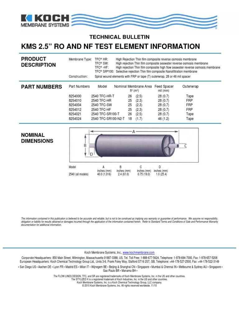 2 5 Inch Test Spirals Fluid Systems Membrane