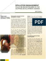 Population Management Should Be Mainstreamed in the Philippine Development Agenda
