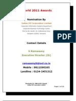 eWorld Award 2011 - Nomination Paper - IOCL