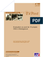 Evaluation ex post de 15 projets ONG à Madagascar (AFD/2011)