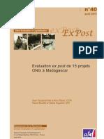Evaluation ex post de 15 projets ONG à Madagascar (AFD/2011)