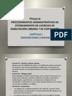 PROCEDIMIENTOS ADMINISTRATIVOS DE OTORGAMIENTOS DE LICENCIAS DE HABILITACION URBANA. PERU.TÍTULO III