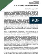 Carta CCOO Exigencia Todas Plazas Concurso Antes OEP 25-5-2011
