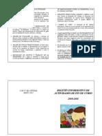Boletín de actividades de fin de curso