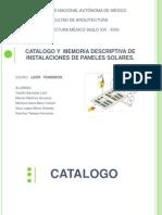 Catalogo y Memoria de Paneles Solares