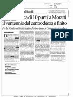 PISAPIA STACCA DI 10 PUNTI LA MORATTI IL VENTENNIO DEL CENTRODESTRA E' FINITO (LA REPUBBLICA MILANO)