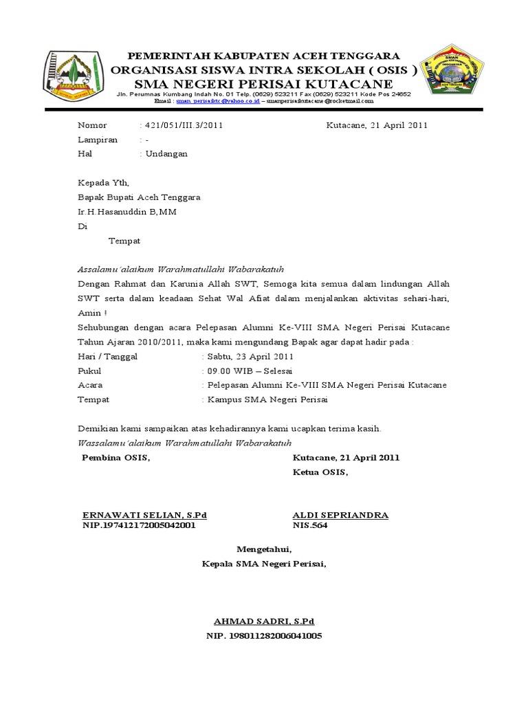 Contoh Surat Dinas Undangan Rapat Osis - Contoh AJa