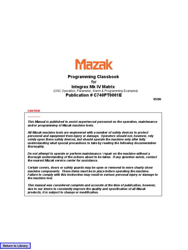 Mazak Programing Class Book   Transformer   Switch