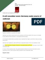 E Coli in Cucumber News